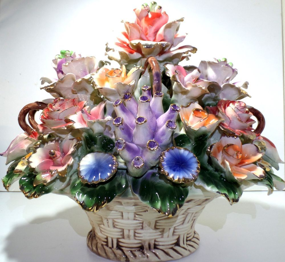Capodimonte Antique Flower Basket Large Centerpiece ...