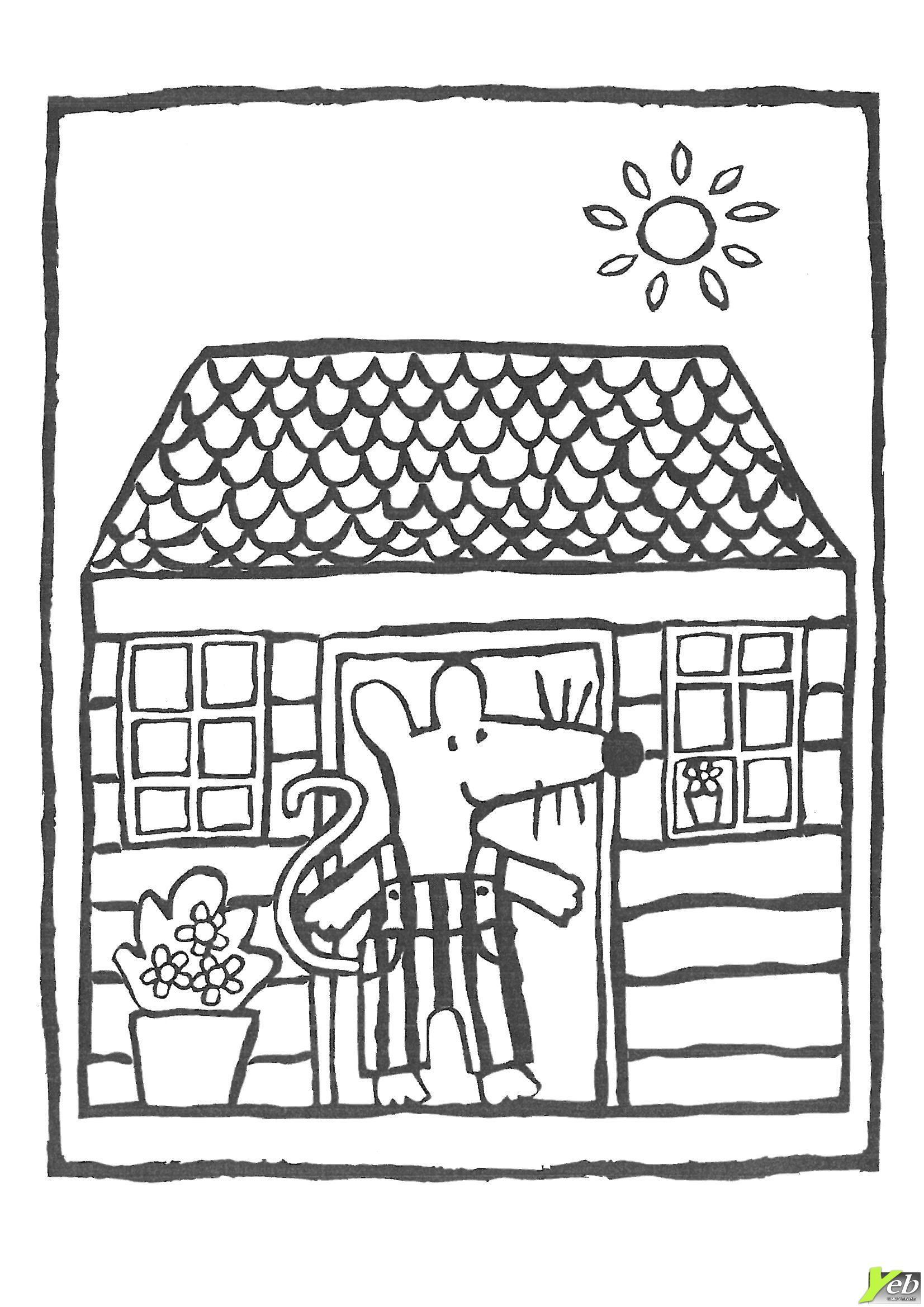 Mimi Dans Sa Maison Coloriage Coloring Pages Maisy Mouse