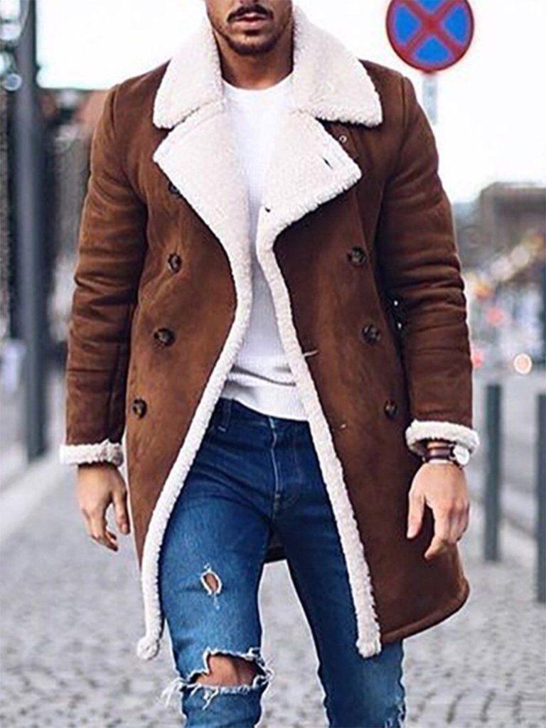4fba834df Mid-Length Lapel Shot Floss Warm Fleece Coat for Men in 2019 ...