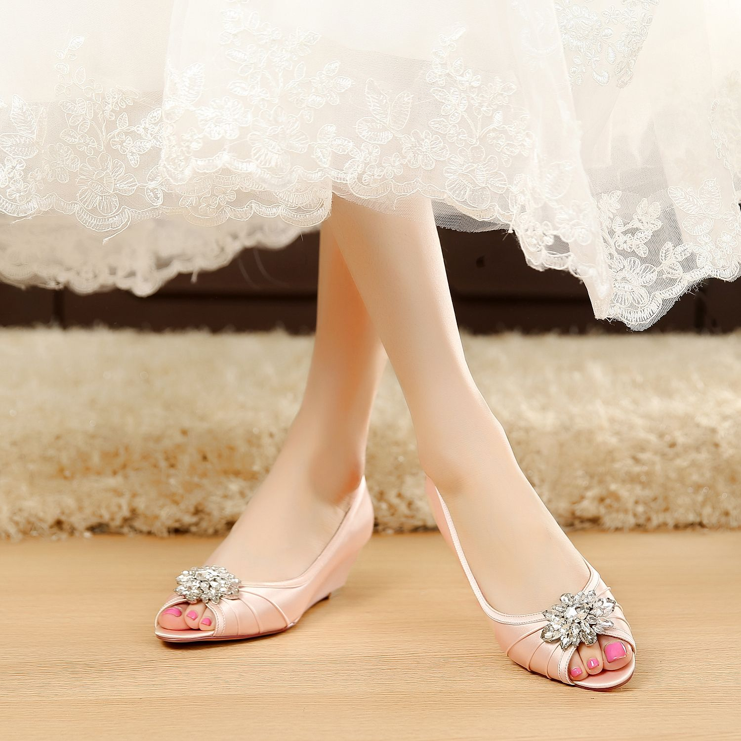 heels summer arrive women comfortable bowknot high wedge in spring from shallow pumps elegant shoes round item comforter morazora wedges new s toe
