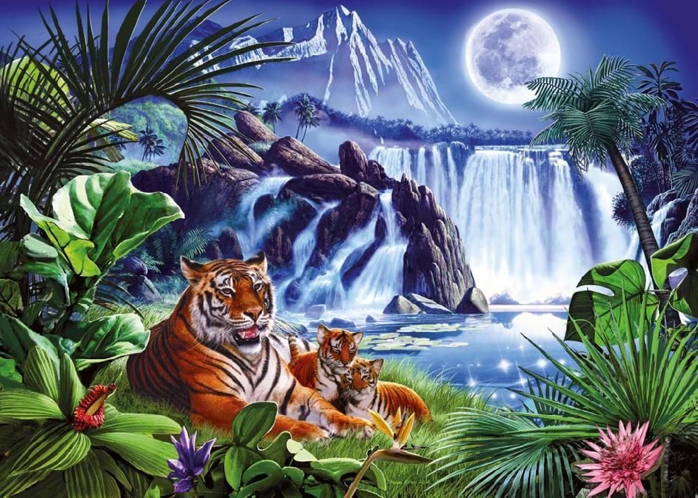 Ravensburger Puzzle Tiger Am Wasserfall 1000 Teile Starline Tiger Pictures Cross Paintings Tiger Painting