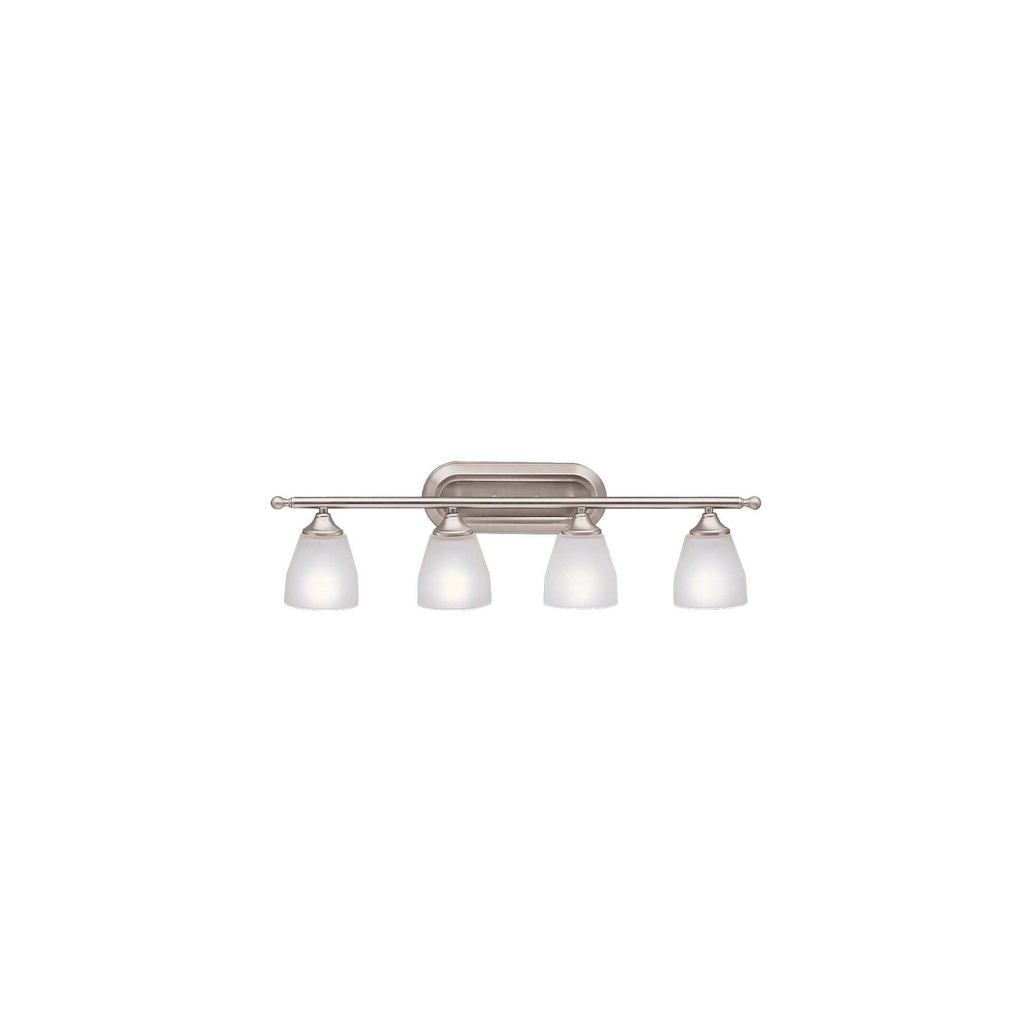 Photo of Kichler 5449 Ansonia 4 Light 31″ Wide Vanity Light Bathroom Fixture with Etched Glass Shades – Brushed Nickel