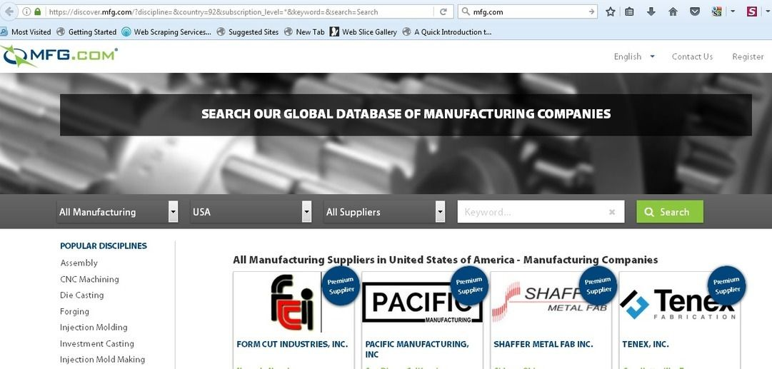 Mfg com Scraping – Email List of Manufacturing and