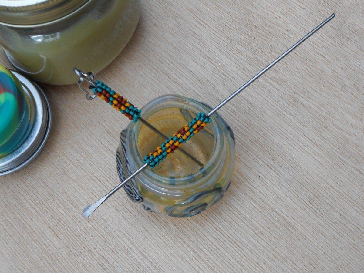 Double Dabber 2pc Dab Set (Green Sunshine) Peyote Stitch Honeycomb Design