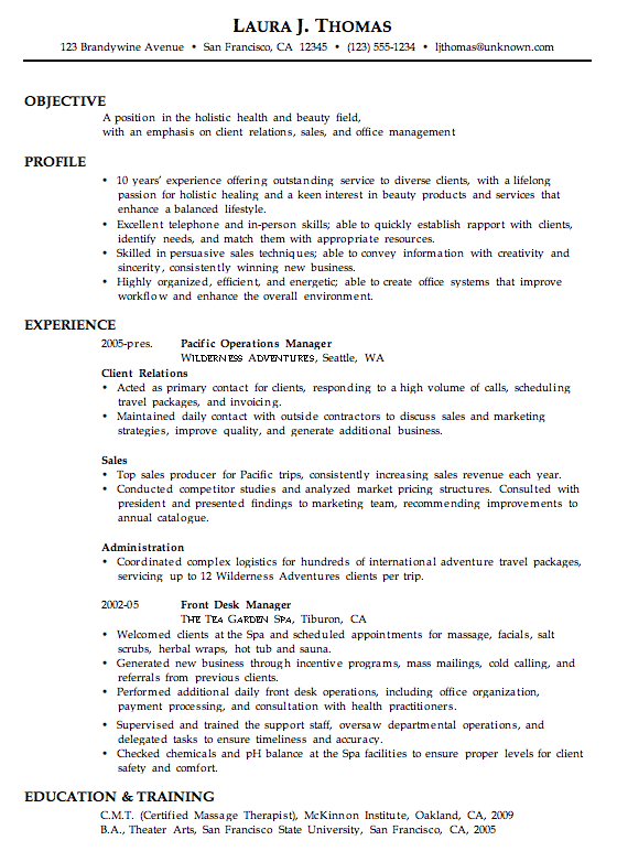 combination resume sample holistic health beauty job hunting tips