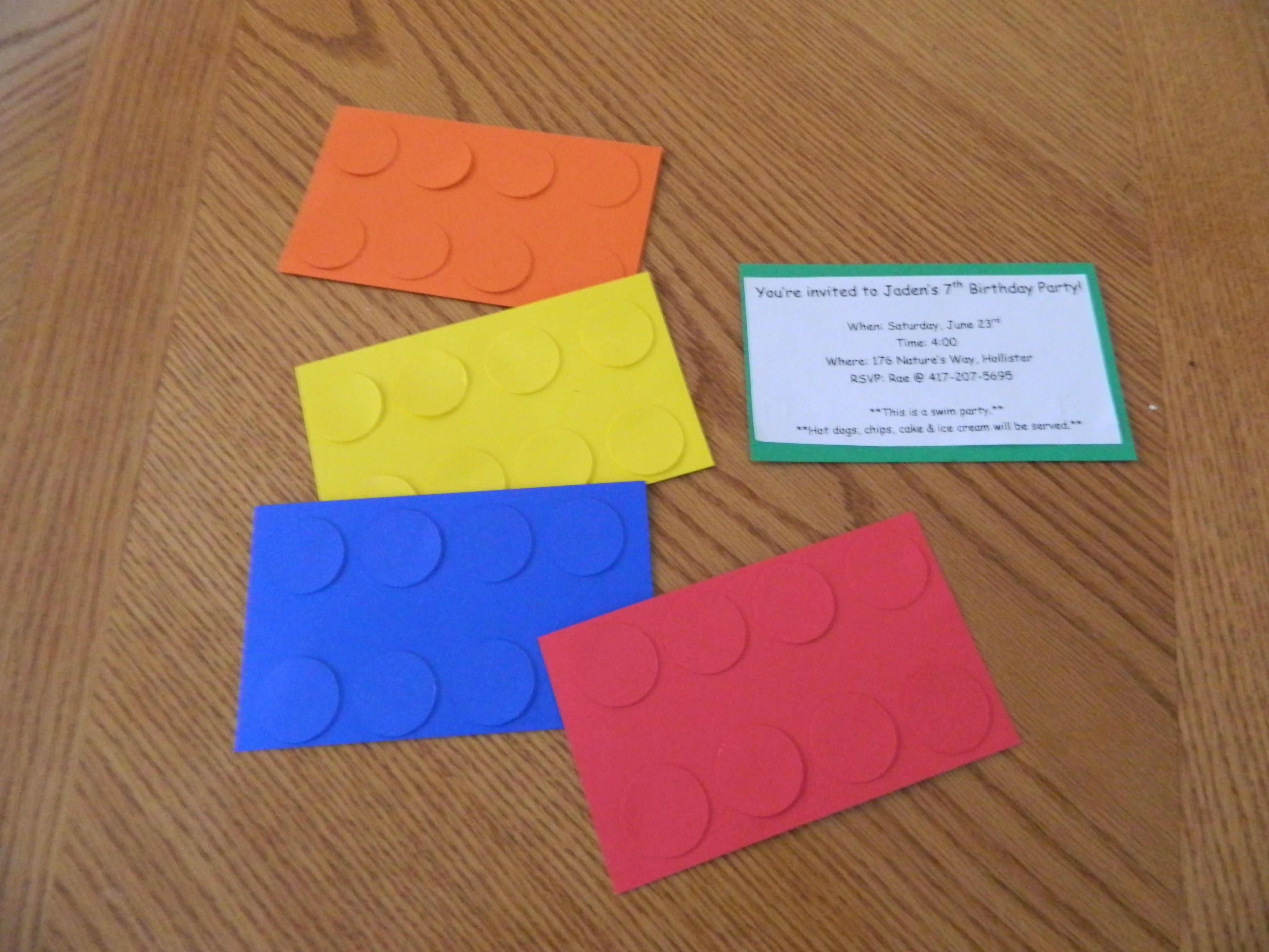 Lego Birthday Invitationsusing Index Size Colored Cardstock And The Cricut Add Information To Back