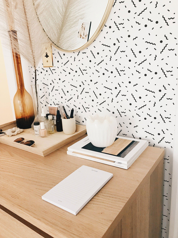 Memphis style pattern selfadhesive wallpaper black and