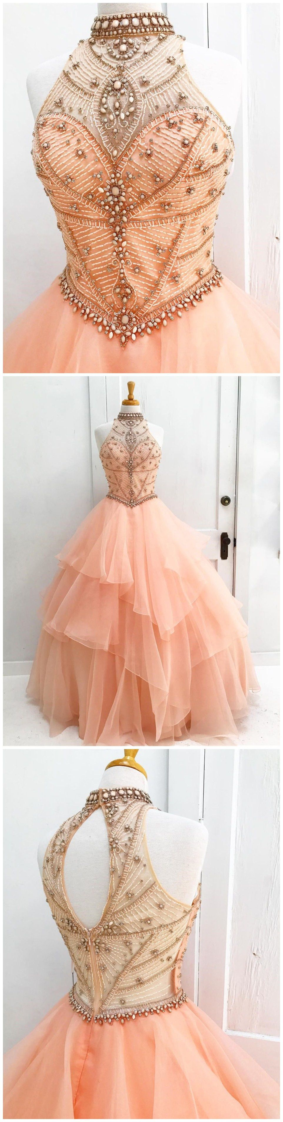 Chic aline high neck pearl pink beading modest long prom dress