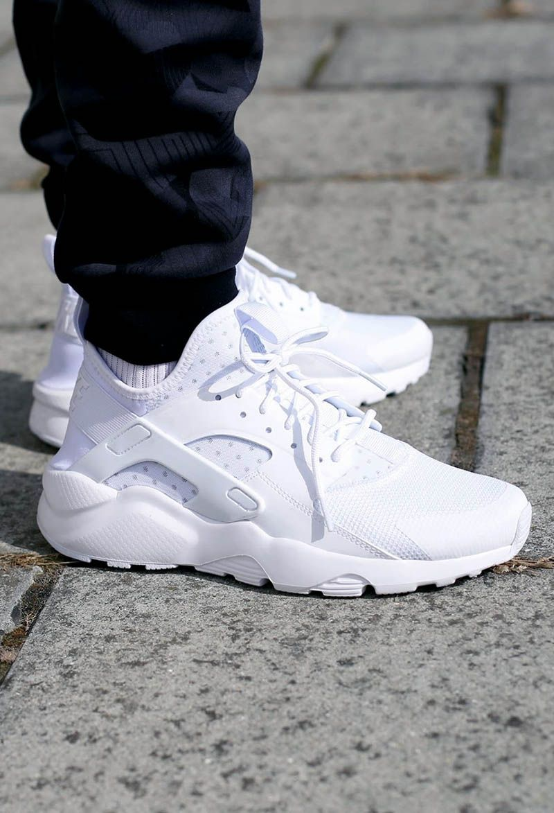 Nike Air Huarache Utility White On Feet