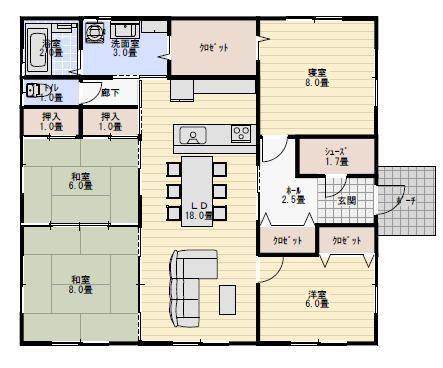 和室の続き間のある平屋の間取り 間取り 平屋 4ldk 間取り 35坪 間取り