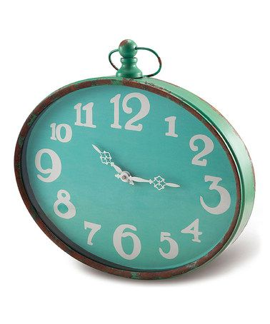 Turquoise Oval Wall Clock By Foreside Zulily Zulilyfinds