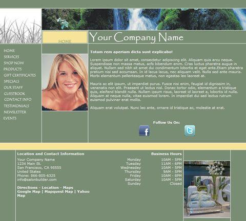 Progressive Green Website Design Template for Hair Salons