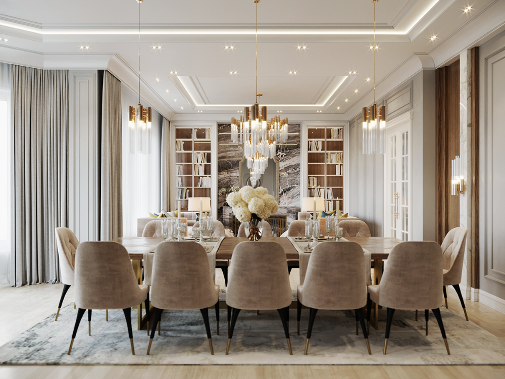 Light Beige Colors On Behance In 2020 Living Room Dining Room Combo Classic Dining Room Dining Room Contemporary #townhouse #living #room #dining #room #combo