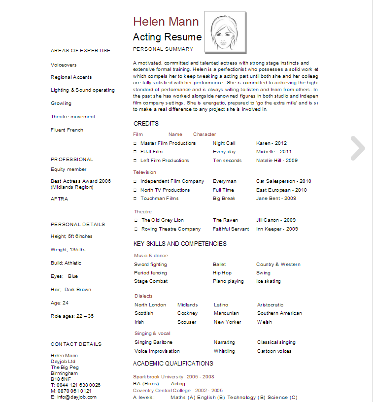Page Acting Resume Template  Acting Resume Template Psd