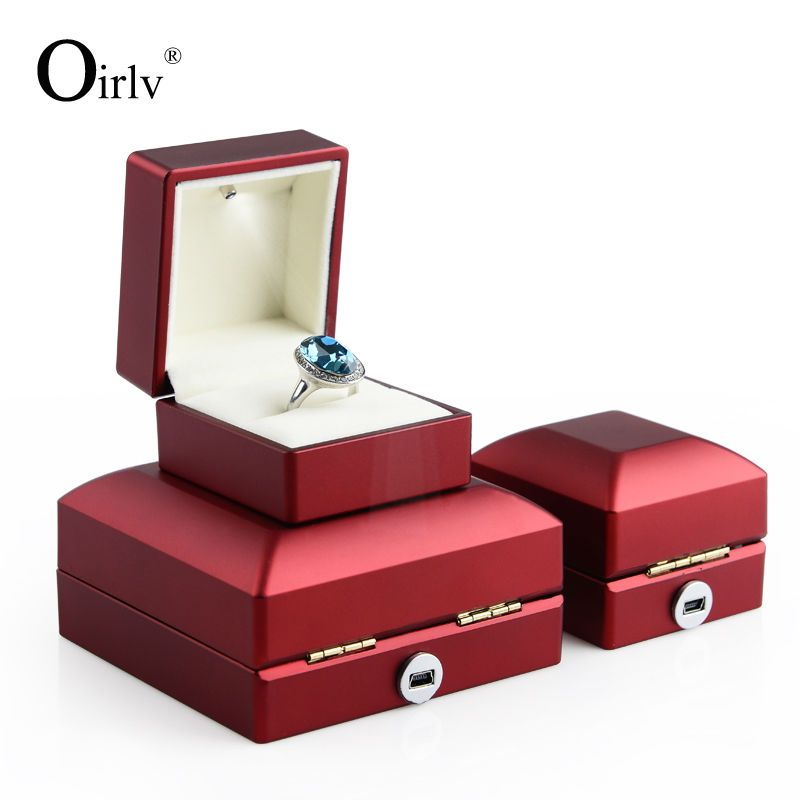 Oirlv Free Shipping Unique Red Rubber Lacquer Wedding Ring Box With