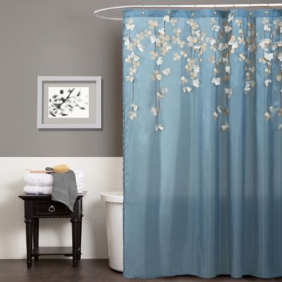 Flower Drops Shower Curtain In Federal Blue White