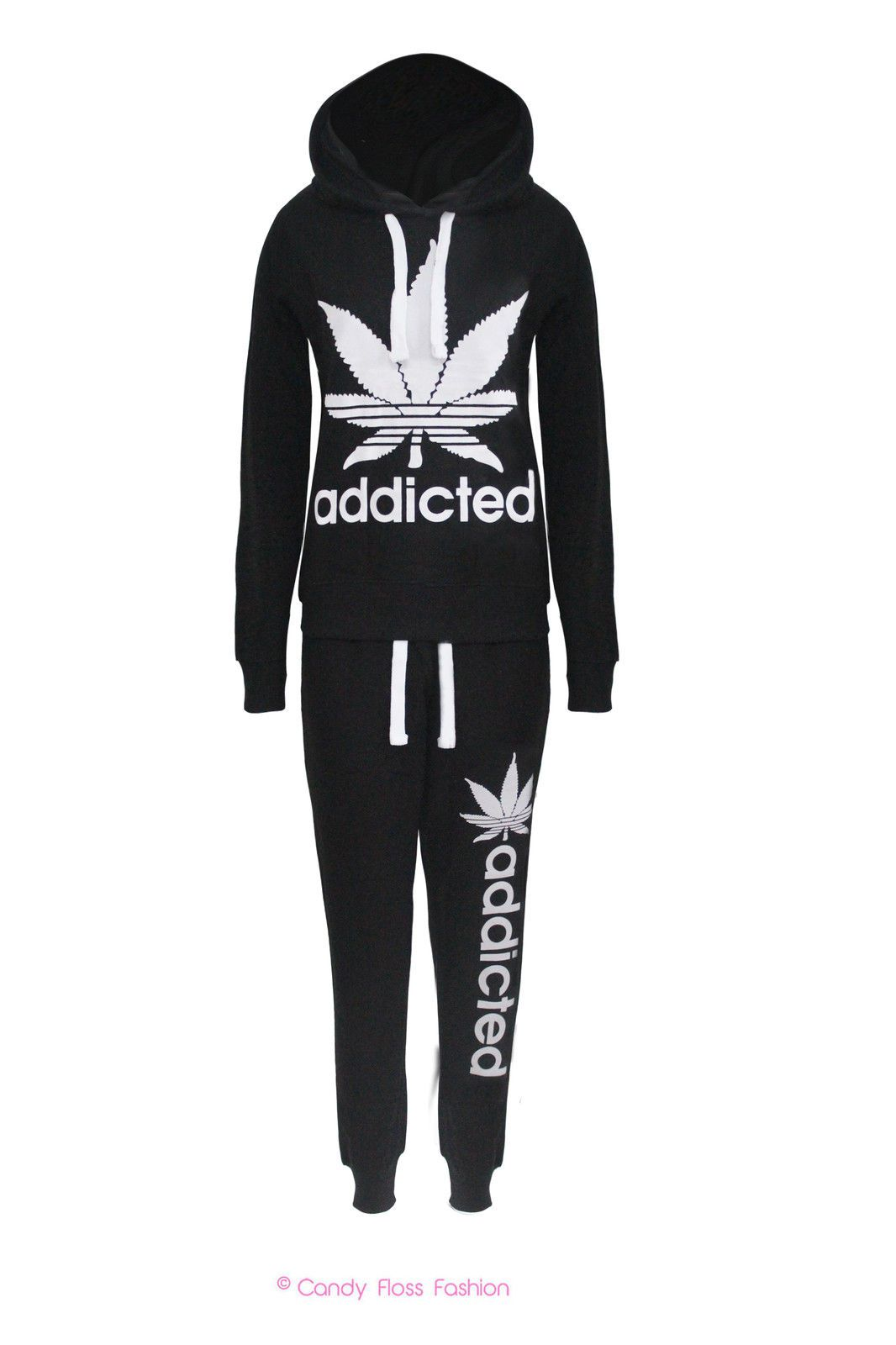 Details About New Ladies Addicted Print Tracksuit Womens Jogging