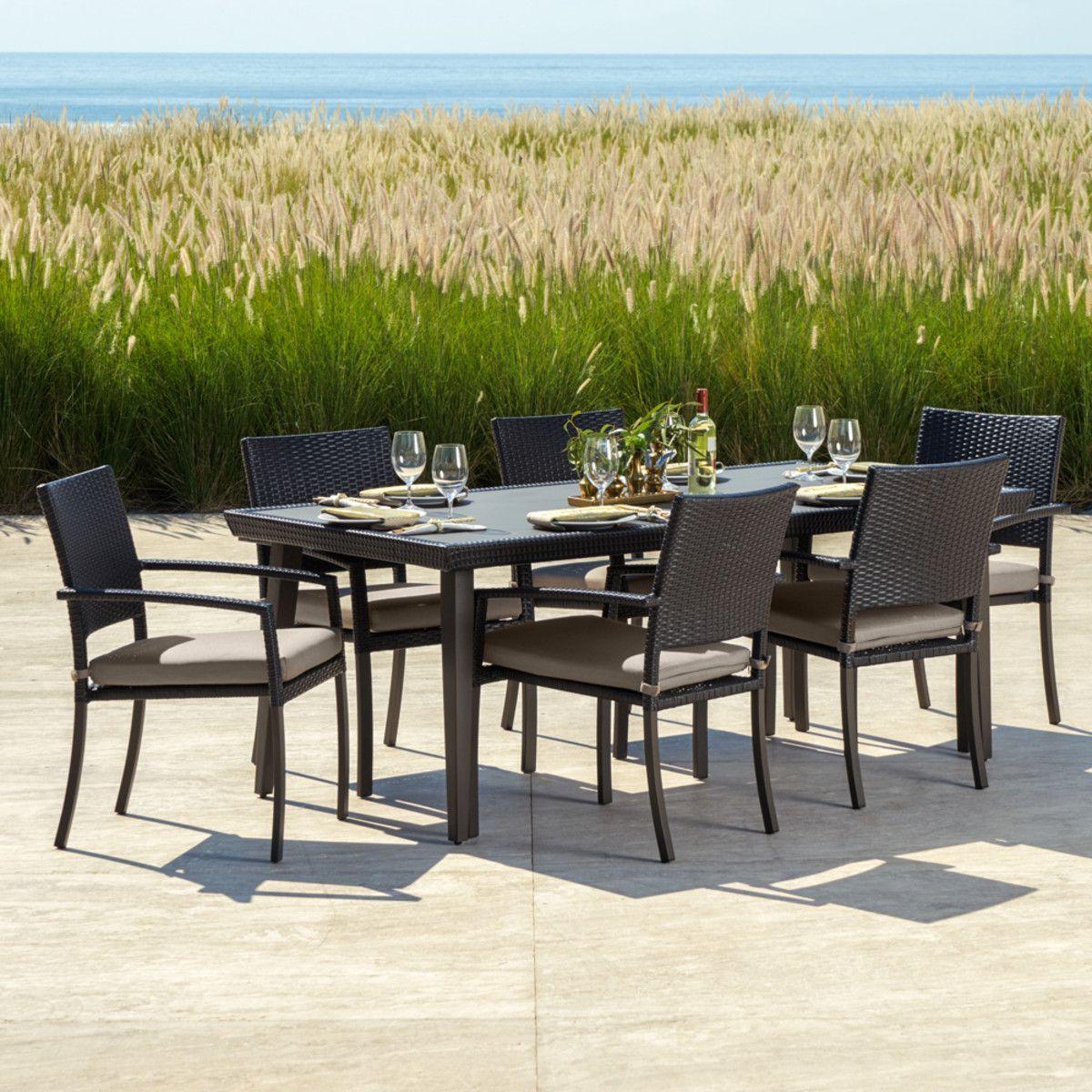 Portofino Casual 7pc Dining Set Taupe Mist Rst Brands Outdoor Dining Set 7 Piece Dining Set Outdoor Furniture Sets