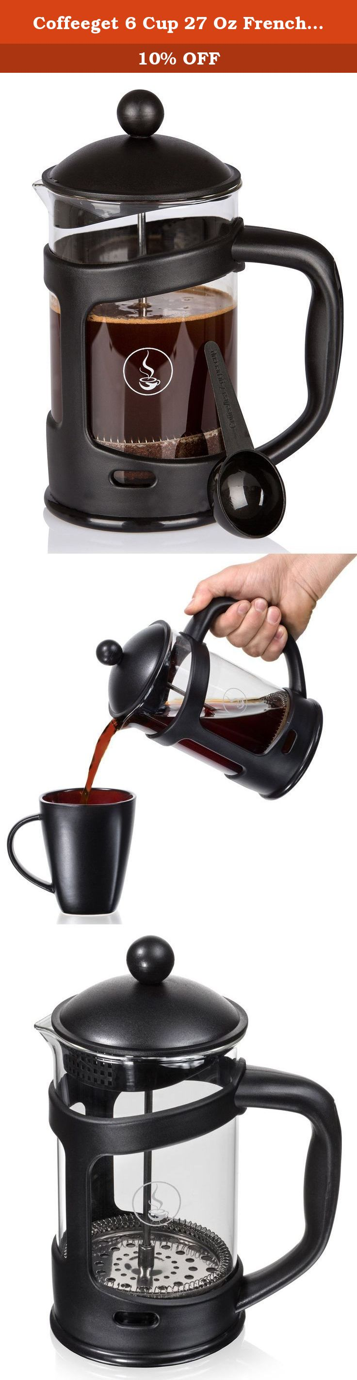 Coffeeget 6 Cup 27 Oz French Press Coffee Maker with Thick