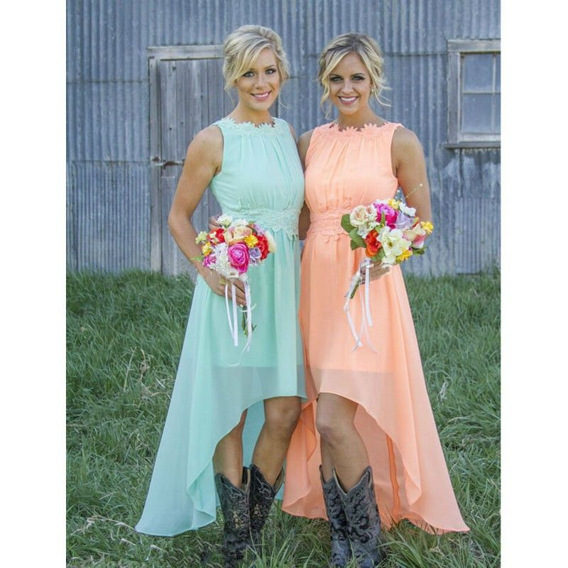 Country Western Peach Mint Green Bridesmaid Dresses Under 100 High Low Chiffon Wedding Guest