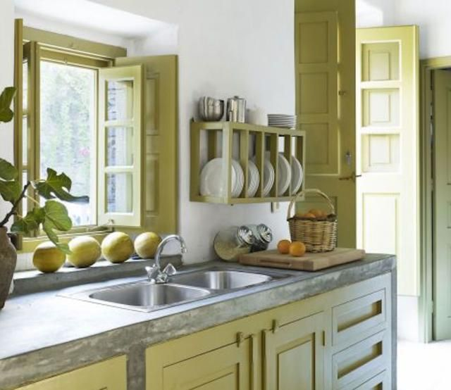 15 Beautiful Feng Shui Kitchen Colors: Calm Yellow Green Color Kitchen