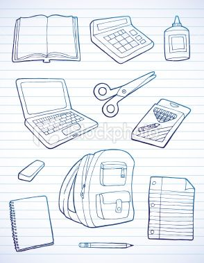 Notebook Page Full Of Hand Drawn School Supplies School Supplies Doodles School