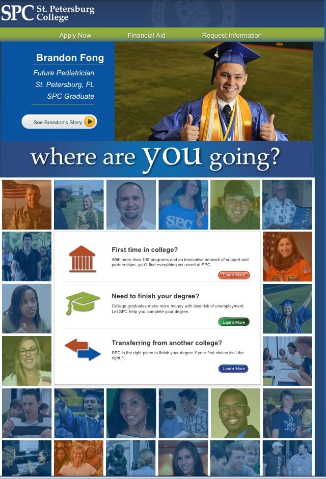 St. Petersburg College Fall 2013 Campaign Landing Page