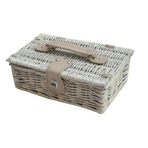 Provence White Wash Small Wicker Empty Hamper Basket Storage