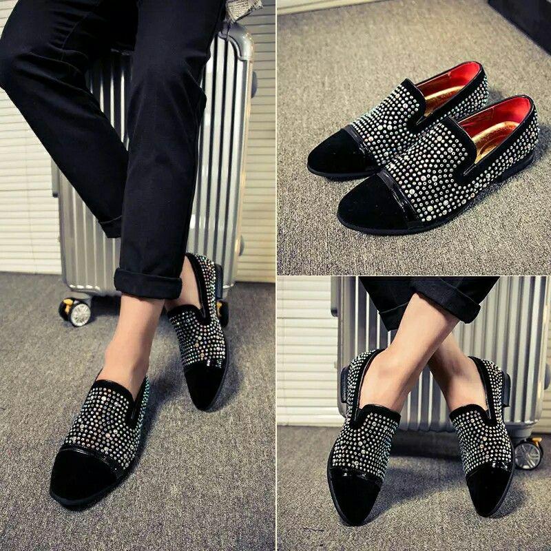 471bde8a3b4 US  30.07  Click to buy  ECTIC 2018 Classic Gentlemen Rhinestones Glitter  Decor Men Smoking Loafers Slipper Formal Shoes Wedding Dress Men s Slip On