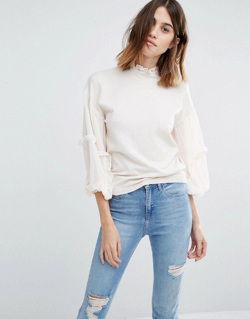 Image of warehouse ruffle sleeve jumper new wardrobe pinterest