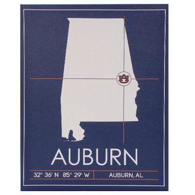 Auburn Tigers 20\'\' x 25\'\' University Map Canvas Wall Art | War Eagle ...