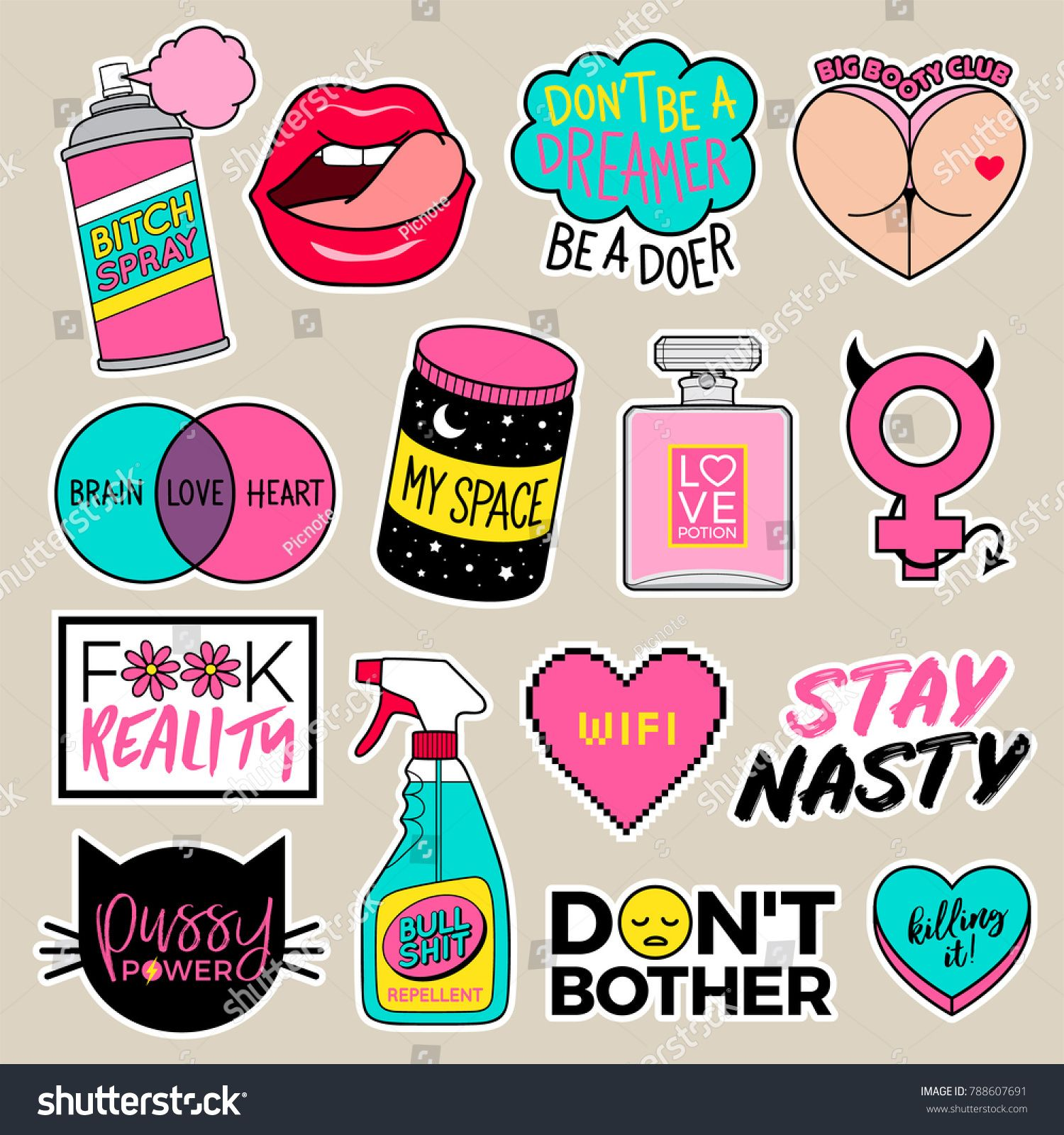 Set of girl fashion patches cute cartoon badges fun stickers design vector for teenage girls