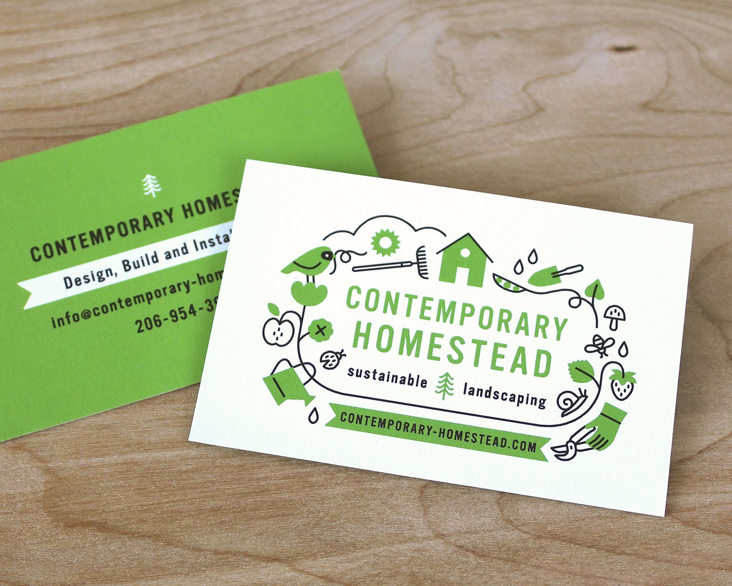 Contemporary homestead sustainable landscaping logo and business contemporary homestead sustainable landscaping logo and business card design 2015 megan noller holt all rights reserved reheart Choice Image