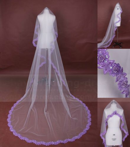 New Bridal Wedding Floral Lace Purple Lace Veil 1 Tier Tulle Veil