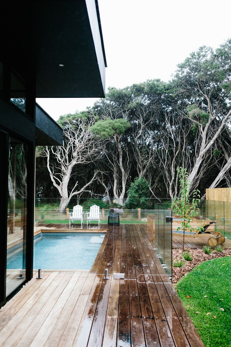 Love The Trees And Glass Fence Around This Small Pool