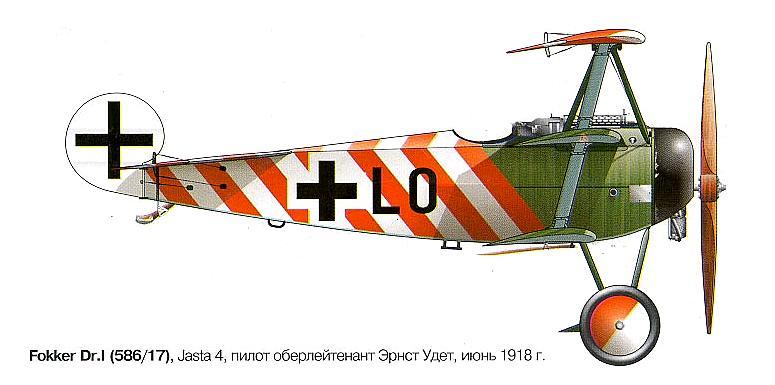 Fokker Dr.1 of Ernst Udet, 1918.