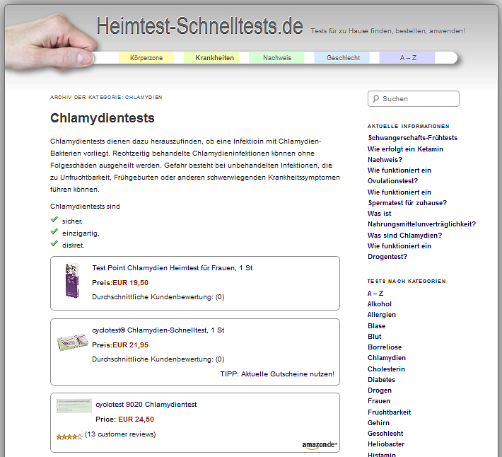 Chlamydientests hier online kaufen!    Buy chlamydia tests here!