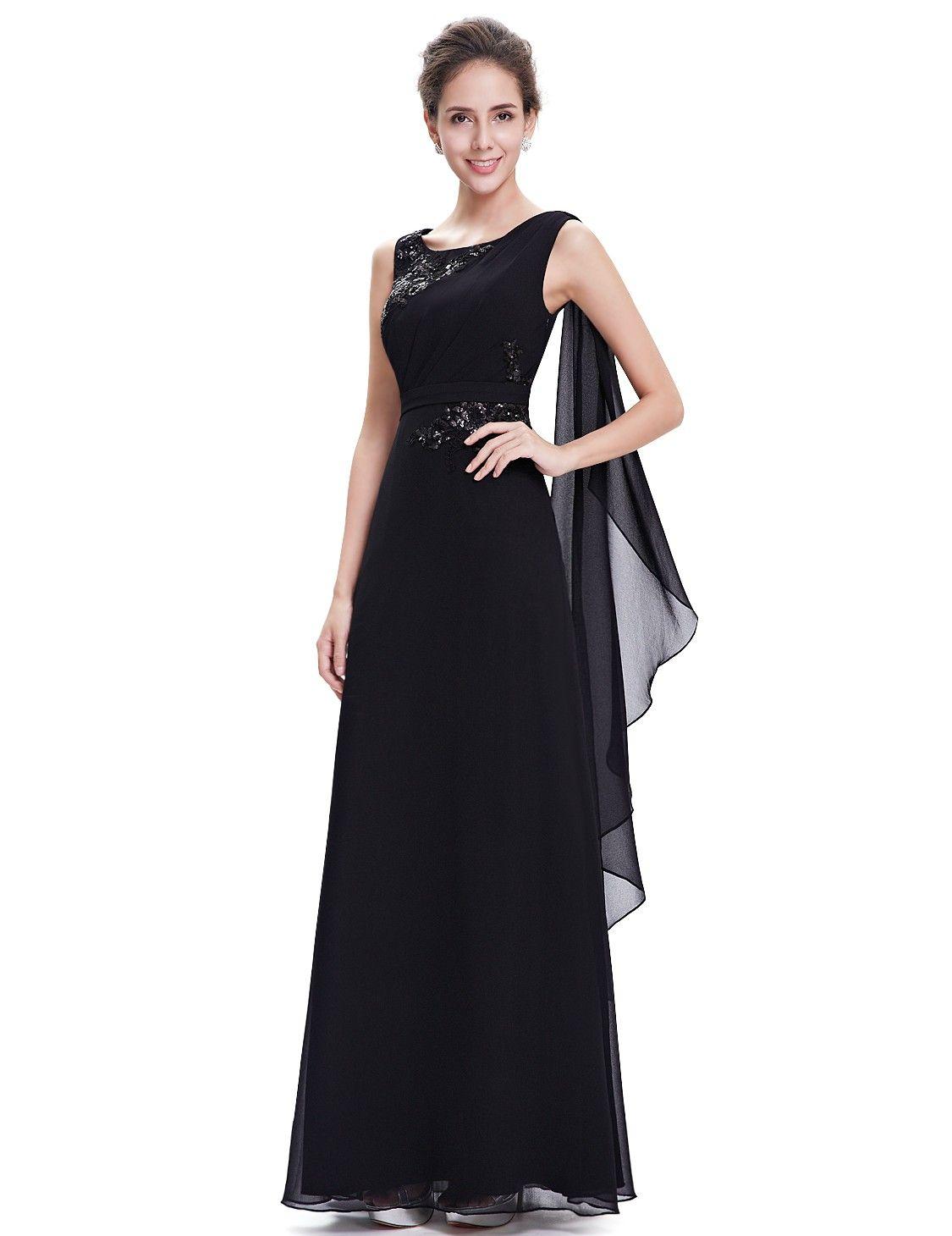 Abendmode / Rundhals Abendkleid in Schwarz  Abendkleid, Abschlussball kleider, Abschlussball