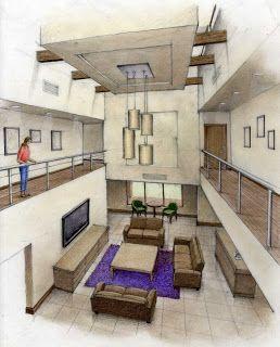 Perspectiva interior. | Bocetos arquitectura, Dibujos de