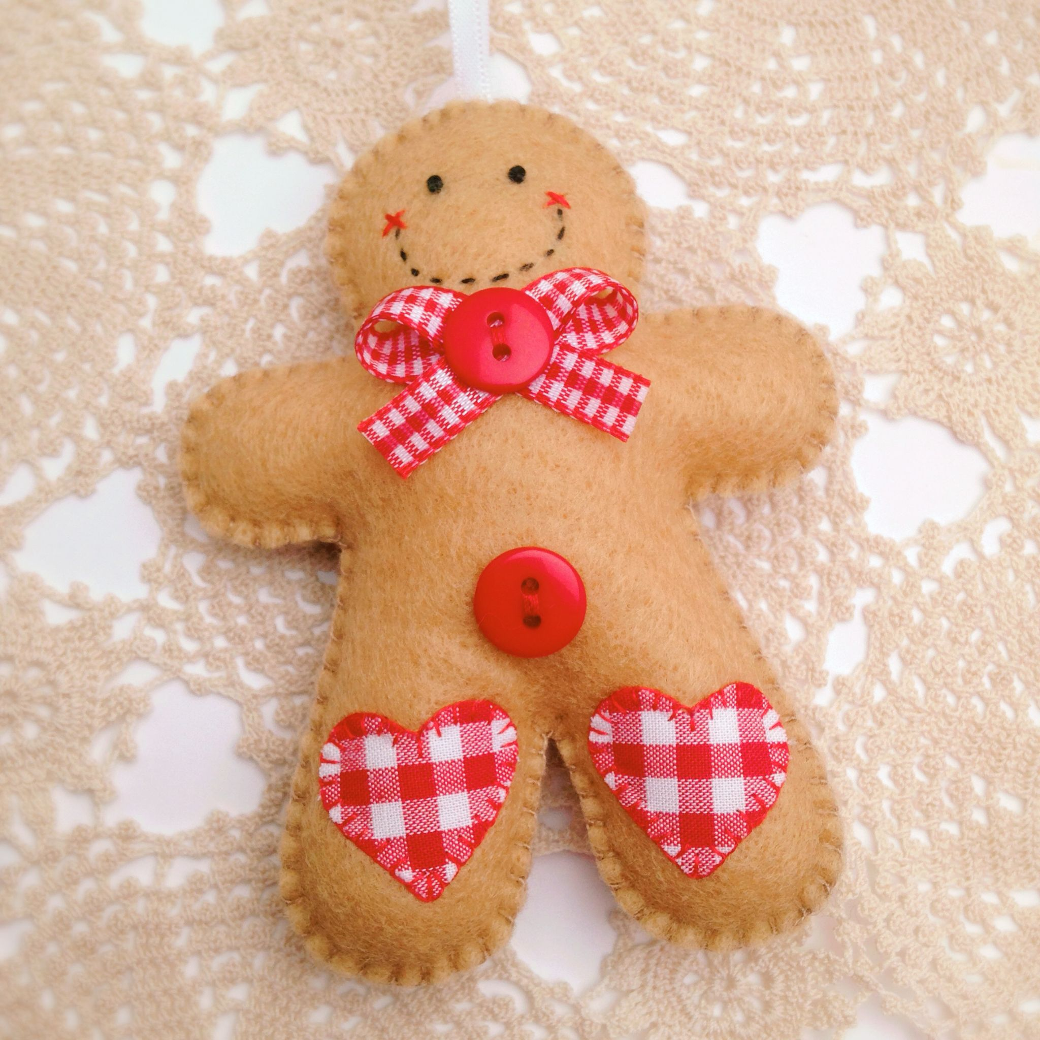 Hand Stitched Felt Gingerbread Man Christmas Ornaments Felt