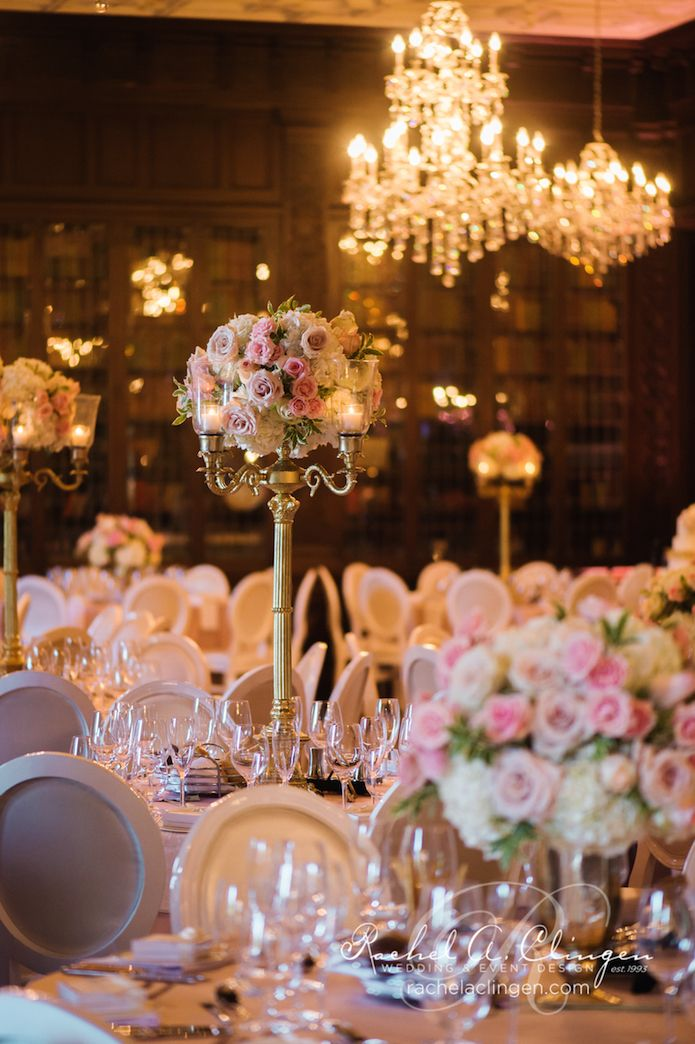 Gold Candelabras And Floral Centrepieces For This Casa Loma Wedding