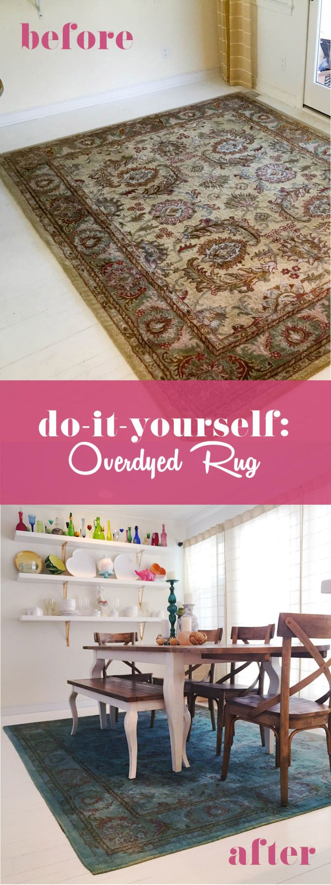 How to make fabric dye - Overdyed Rug With Rit Fabric Dye Diy Brilliant Bleaching The Rug First Might Make The Dye Color Brighter And More Vibrant