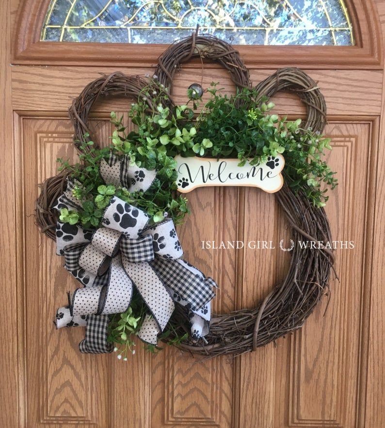Photo of Dog wreath, grapevine dog wreath, paw wreath, dog wreaths, paw wreaths, paw print ribbon, grapevine dog wreath, dog bone sign, welcome bone