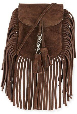 a8fd098cbc Saint Laurent Anita Toy Flat Suede Fringe Crossbody Bag