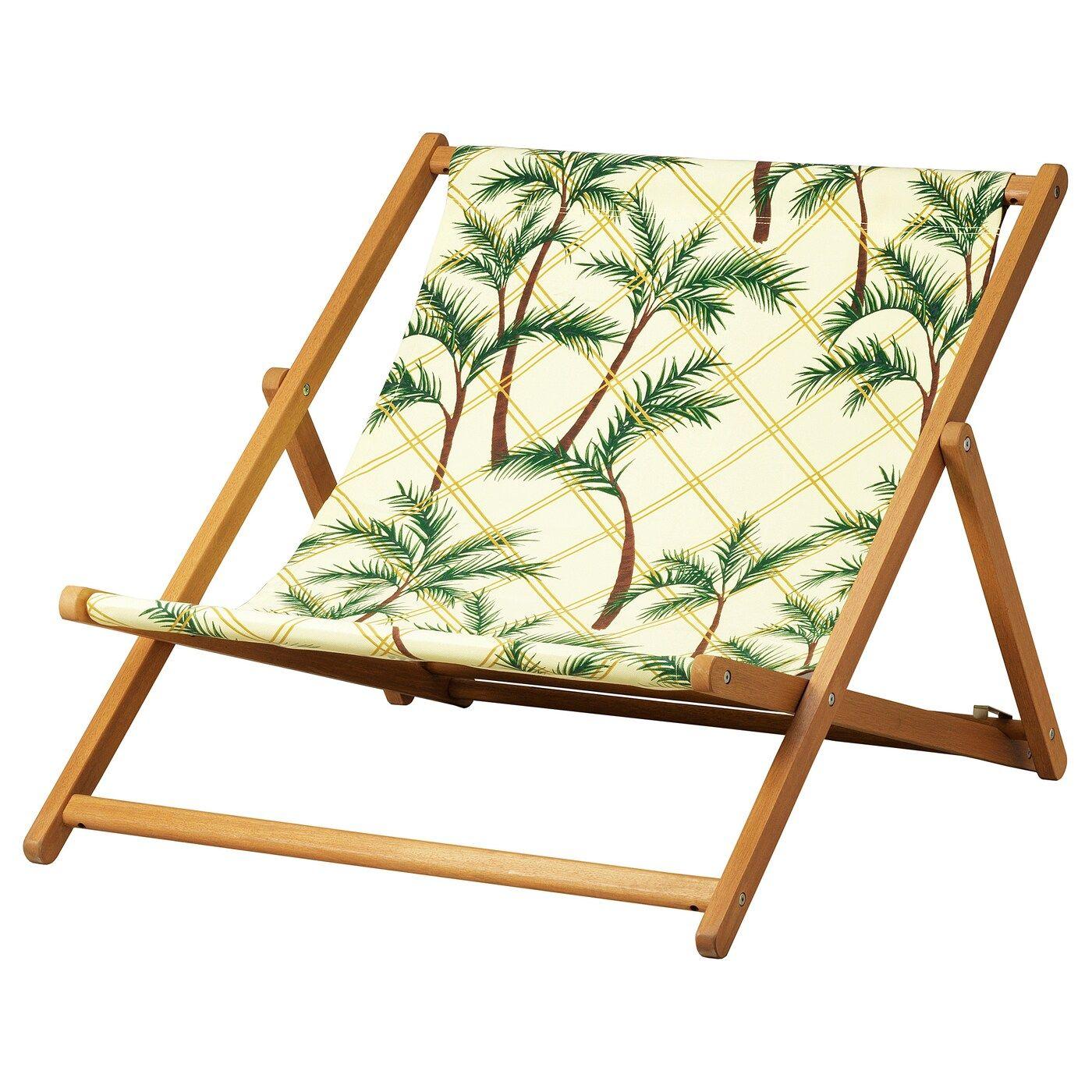 Solblekt Strandstuhl Faltbar Eukalyptus Palmen Gelb Ikea