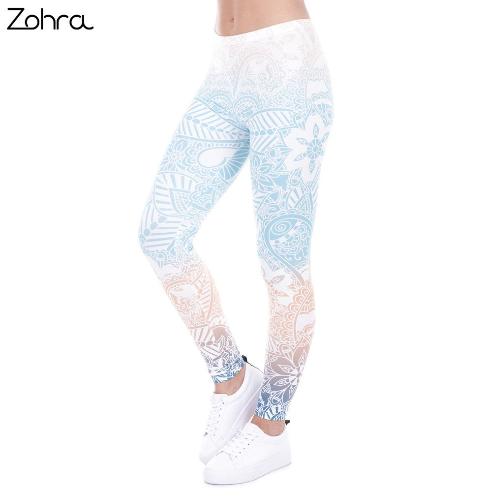 Zohra Brand Autumn Winter Leggings Mandala Mint Print Fitness Legging High Elasticity Leggins Legins Tro Women Leggings Outfits Pants For Women Shirt Refashion