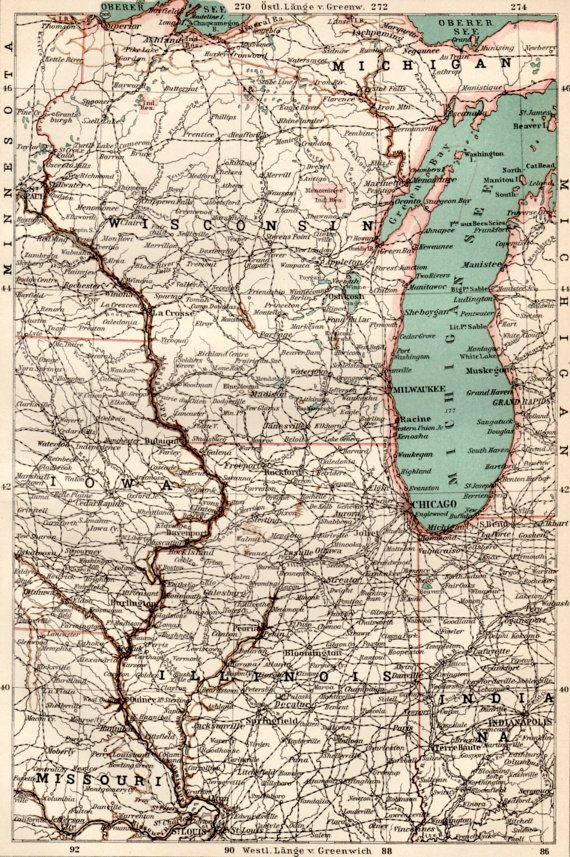 1898 Wisconsin, Illinois Antique Map, Vintage Lithograph, Michigan