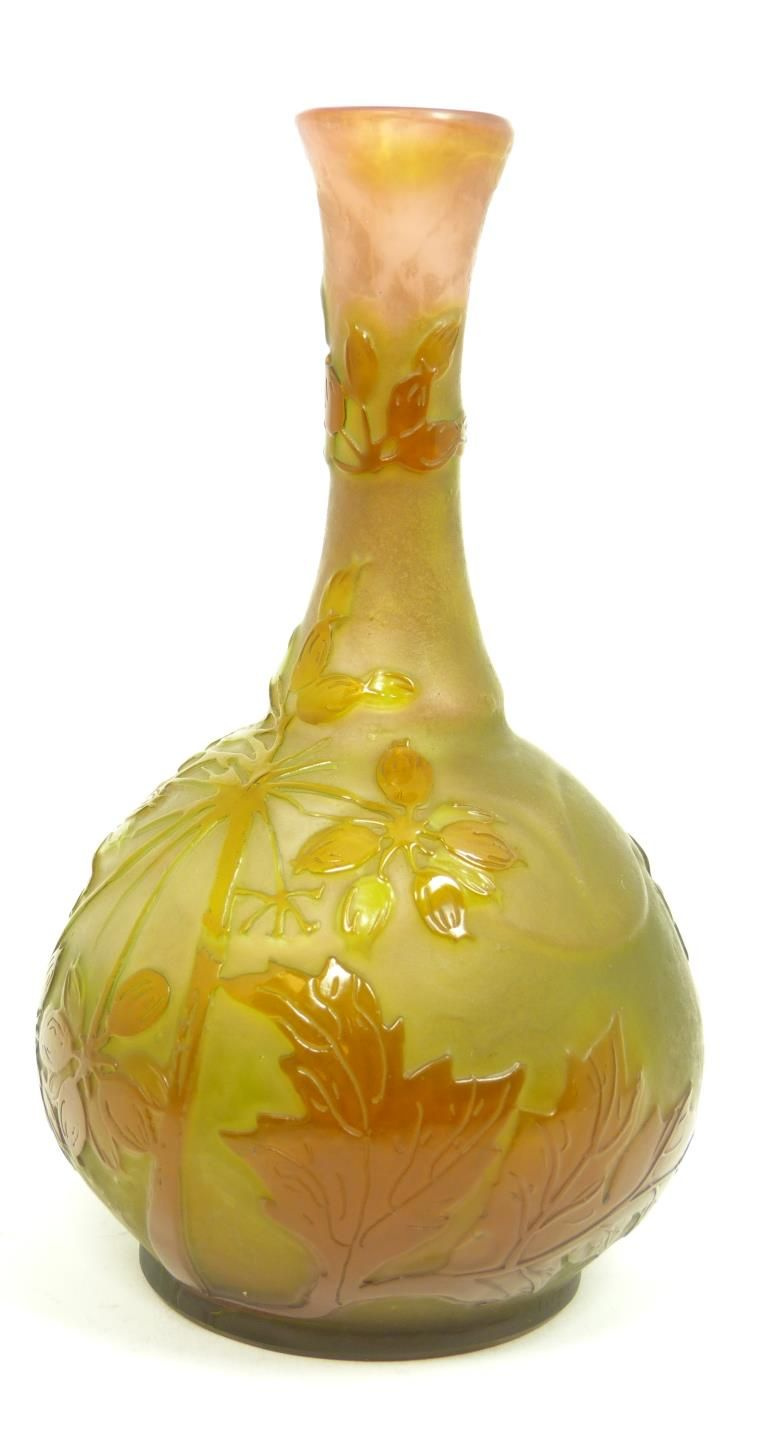 EMILLE GALLE FRANCE CAMEO GLASS CABINET VASE