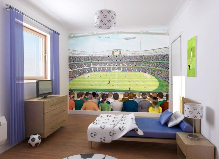 Let Your Kids Colour In Their Favourite Football Teams Colours Into This  Stunning Football Stadium Kids. Soccer RoomChildrens BedroomFootball  TeamFootball ...