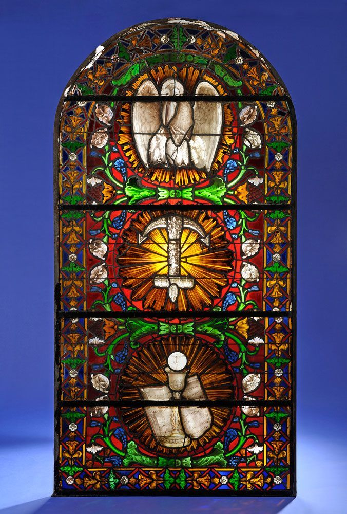 Großes Kirchenfenster 19. Jhdt. Min. be — Skulpturen, Möbel, Kunsthandwerk